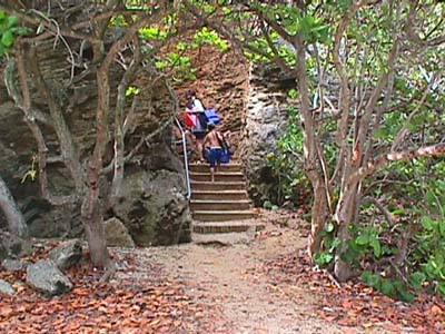 Stairs leading to La'ie Point